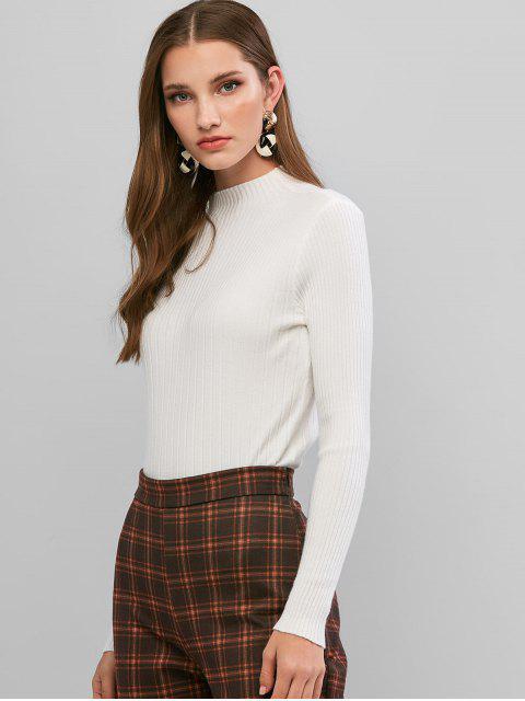 Gerippte Dünne Hohe Neck Pullover - Weiß Eine Größe Mobile