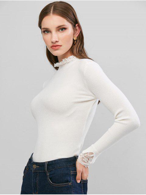 蕾絲荷葉邊袖口羅紋修身毛衣 - 白色 One Size Mobile
