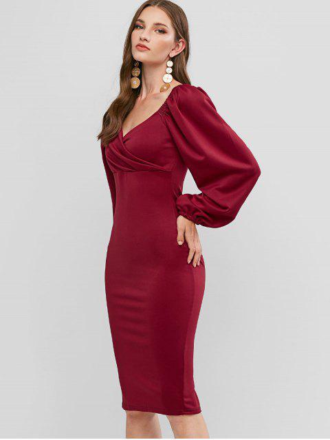 Langarm-Schatz-Partei-Kleid Bodycon - Rot M Mobile