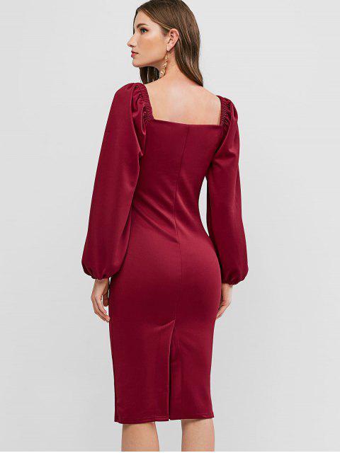 Robe de Soirée Moulante à Manches Longues - Rouge M Mobile