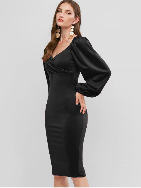 Langarm-Schatz-Partei-Kleid Bodycon - Schwarz L Mobile