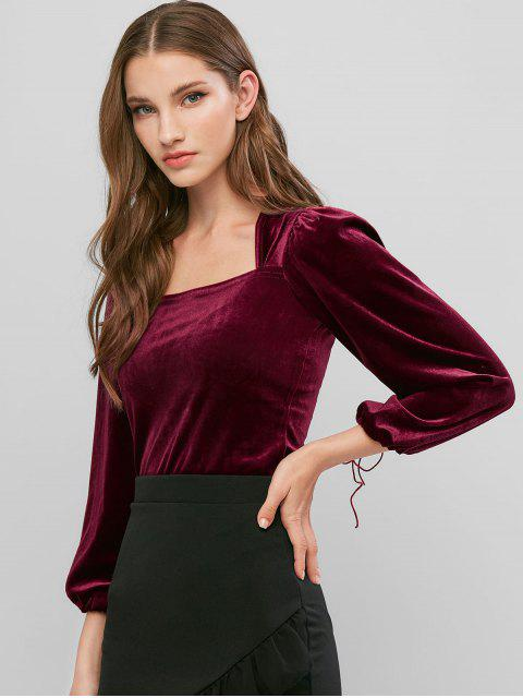 lady Velvet Square Neck Tie Cuff Top - RED WINE M Mobile