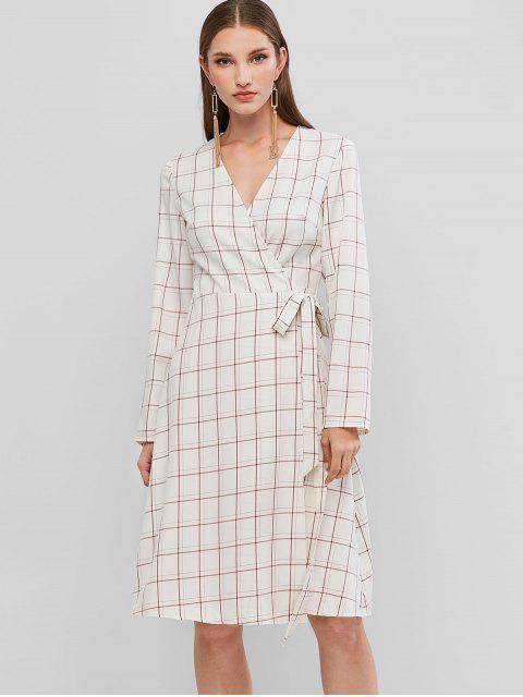 lady ZAFUL Long Sleeve Plaid Wrap Dress - WHITE M Mobile