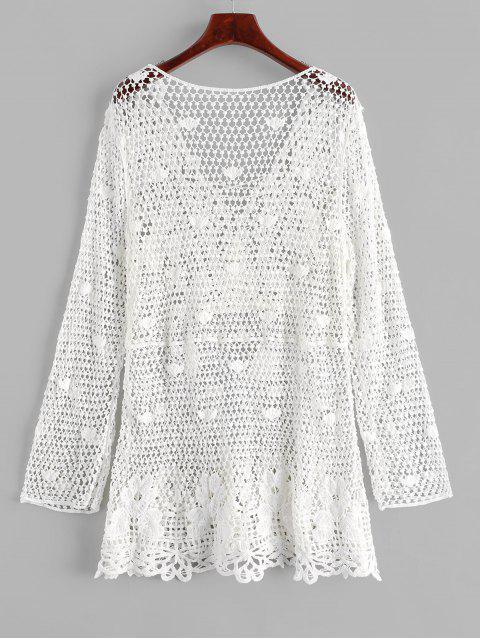 綁帶流蘇鉤針沙灘裙 - 白色 One Size Mobile