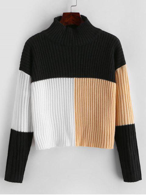latest Colorblock Mock Neck Crop Sweater - MULTI XL Mobile