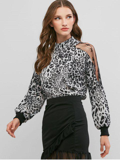 latest Leopard Animal Print Mesh Panel Sheer Blouse - MULTI-B XL Mobile