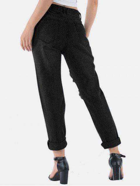 ladies Distressed Raw Hem Boyfriend Jeans - NATURAL BLACK XS Mobile