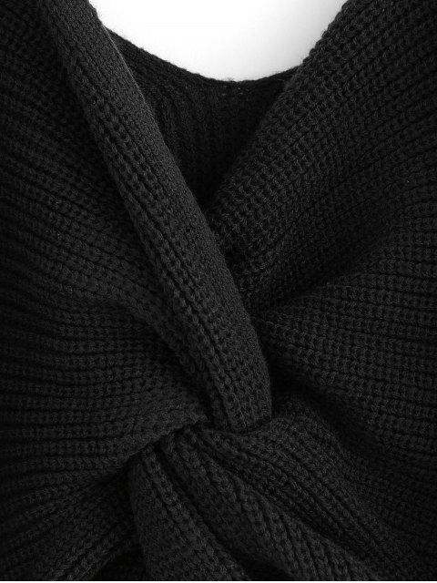 sale ZAFUL Twisted Cold Shoulder Jumper Sweater - BLACK L Mobile