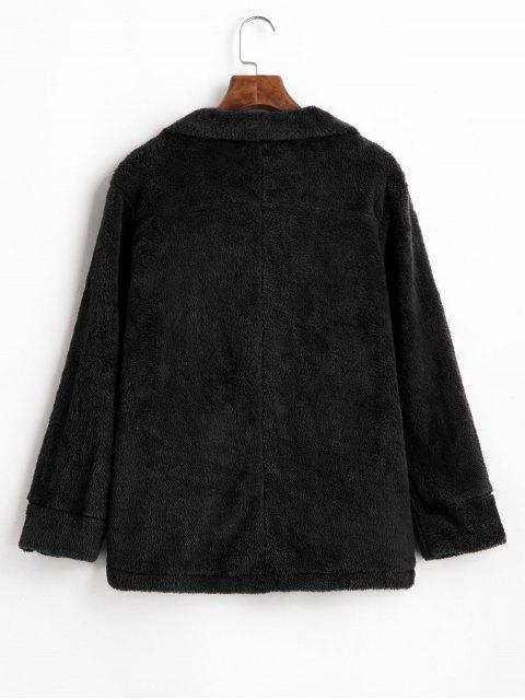 hot Plush Turndown Collar Fluffy Pocket Coat - BLACK M Mobile