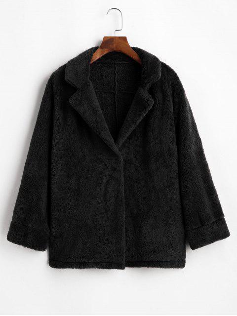 outfit Plush Turndown Collar Fluffy Pocket Coat - BLACK L Mobile