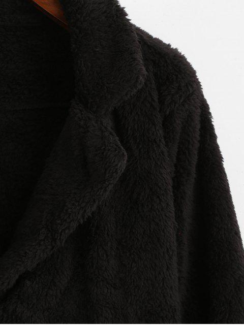 outfits Plush Turndown Collar Fluffy Pocket Coat - BLACK XL Mobile