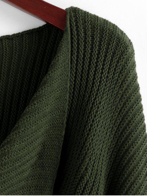 women's Twist Asymmetric Crop Sweater - DARK FOREST GREEN S Mobile