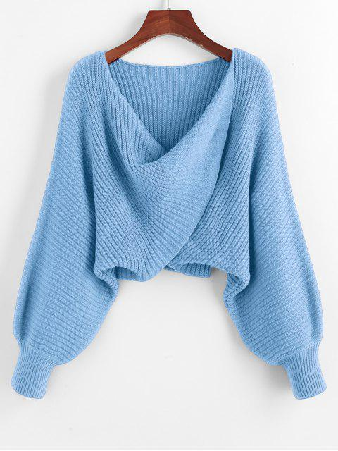 best Twist Asymmetric Crop Sweater - LIGHT SKY BLUE S Mobile