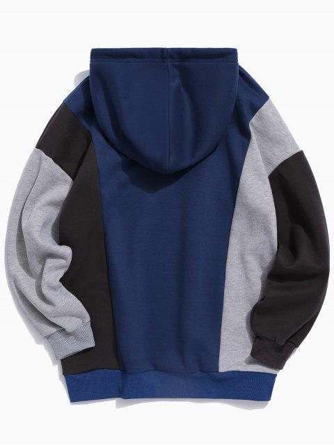 women's Colorblocking Spliced Letter Drawstring Pullover Hoodie - LAPIS BLUE S Mobile