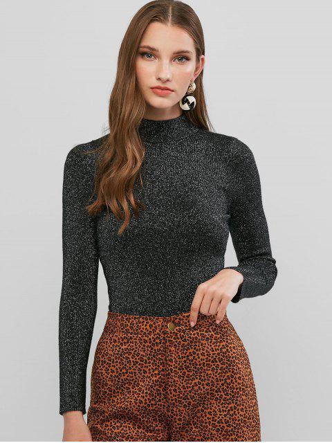 chic Mock Neck Metallic Threads Slim Sweater - BLACK ONE SIZE Mobile
