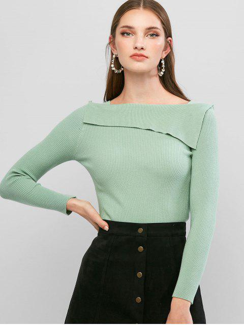 women's Square Neck Ribbed Solid Knitwear - LIGHT GREEN ONE SIZE Mobile
