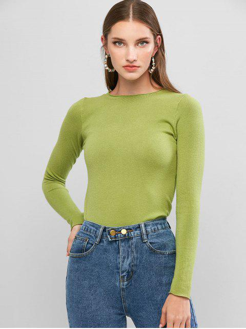 trendy Basic Raw Hem Sweater - GREEN ONION ONE SIZE Mobile