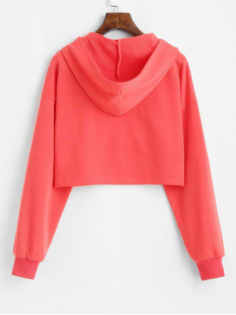 ladies ZAFUL Drop Shoulder Cropped Reflective Graphic Hoodie - BEAN RED XL Mobile
