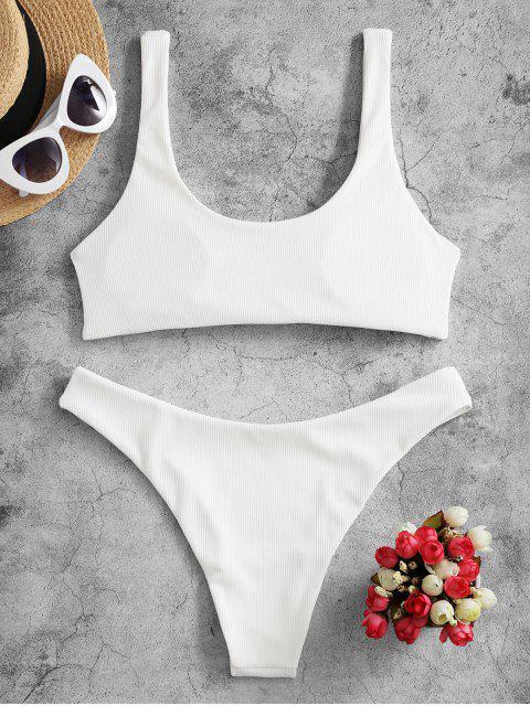ZAFUL Bikini Acanalado con Lazo - Blanco S Mobile