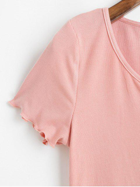 womens ZAFUL Ribbed Lettuce Trim Cropped Tee - PINK ROSE S Mobile