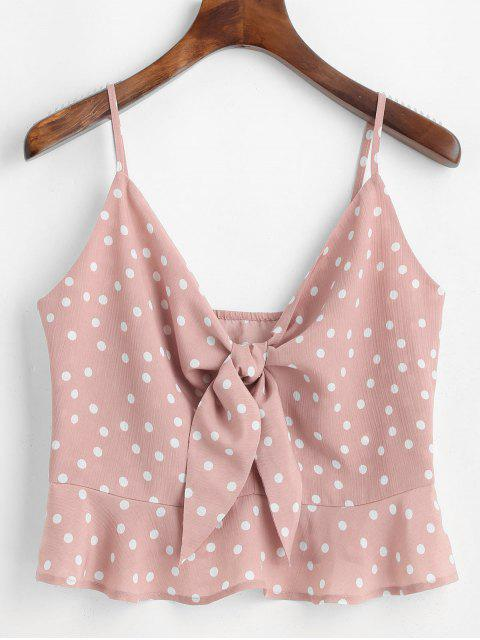 ZAFUL Top de Tie-dye con Nudo y Lunares - Rosado S Mobile