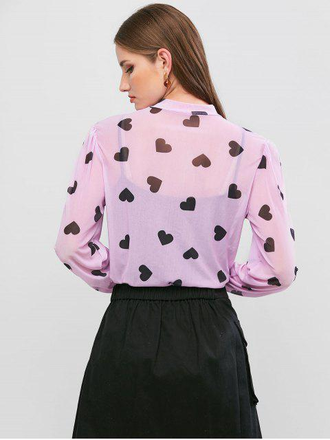 womens Mock Neck Valentine Heart Sheer Mesh Tee - PURPLE S Mobile