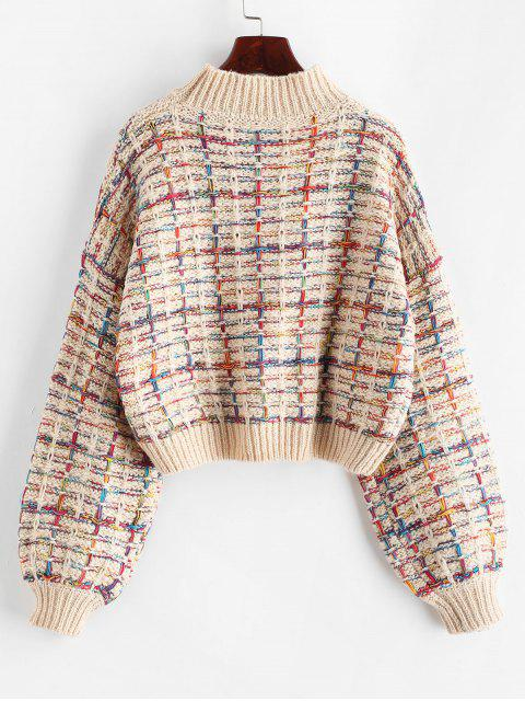 chic Lantern Sleeves Multicolor Chunky Sweater - WARM WHITE ONE SIZE Mobile