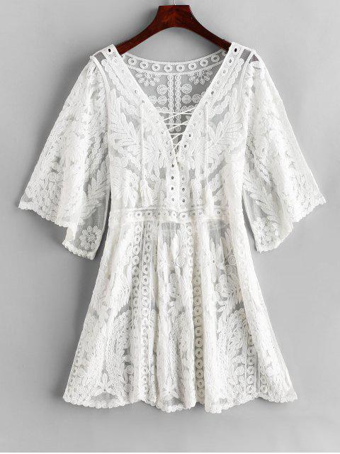 unique Mesh Embroidered Lace-up Beach Dress - WHITE ONE SIZE Mobile