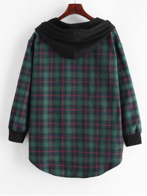 online Plaid Button Up Pocket Hooded Coat - DEEP GREEN L Mobile