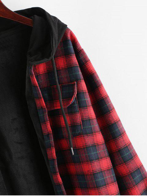 trendy Plaid Button Up Pocket Hooded Coat - RED XL Mobile