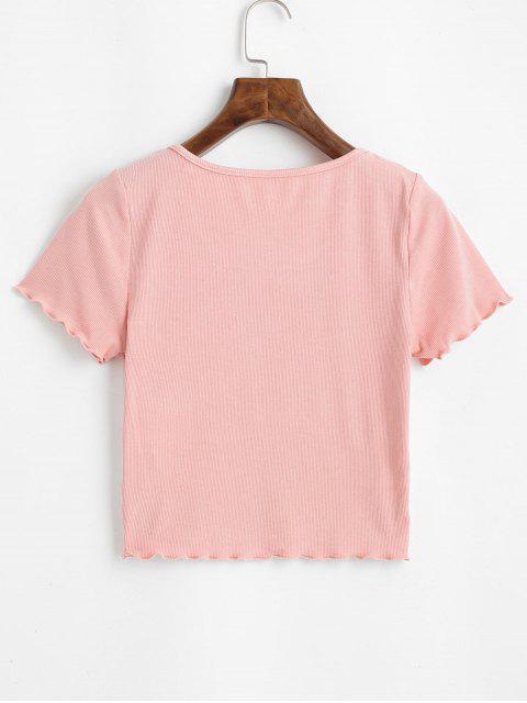 ZAFUL T-shirt Court Côtelé à Ourlet en Laitue - Rose Rosé S Mobile