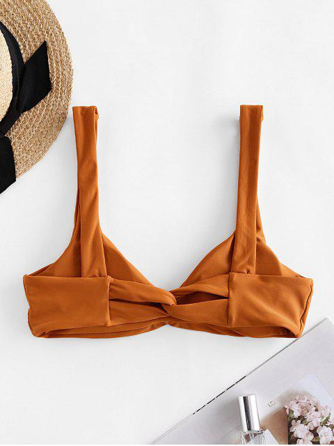ZAFUL Ruched Twisted Padded Bikini Top - كستنائي أحمر L Mobile