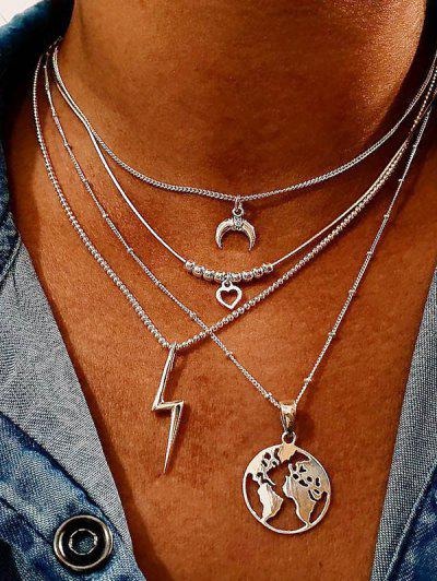 Hollow Map Heart Layered Necklace - Silver