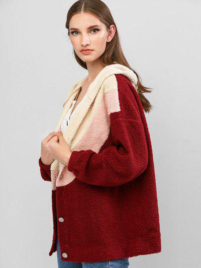 ZAFUL Colorblock Button Up Hooded Teddy Jacket - Red Wine L