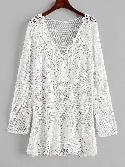Lace-up Tassel Crochet Beach Dress - White