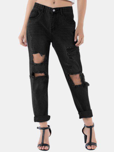 Distressed Raw Hem Boyfriend Jeans - Natural Black S