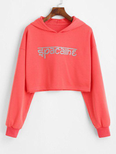 ZAFUL Drop Shoulder Cropped Reflective Graphic Hoodie - Bean Red M