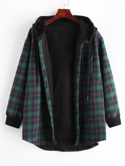 Plaid Button Up Pocket Hooded Coat - Deep Green L