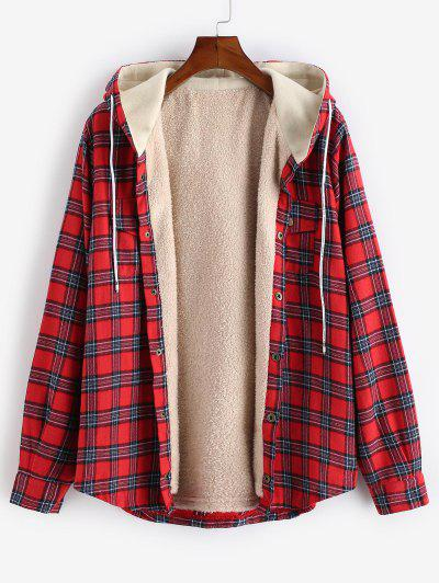 Plaid Chest Pocket Fleece Drawstring Hooded Jacket - Red L
