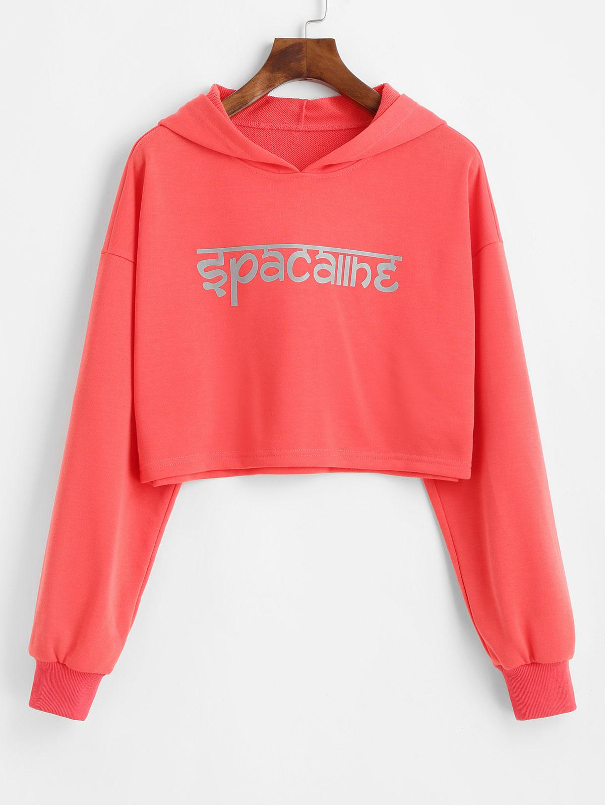 ZAFUL Drop Shoulder Cropped Reflective Graphic Hoodie