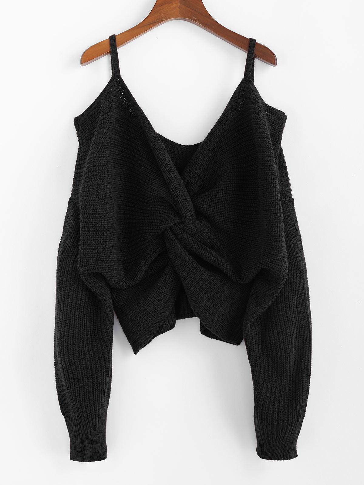 ZAFUL Twisted Cold Shoulder Jumper Sweater