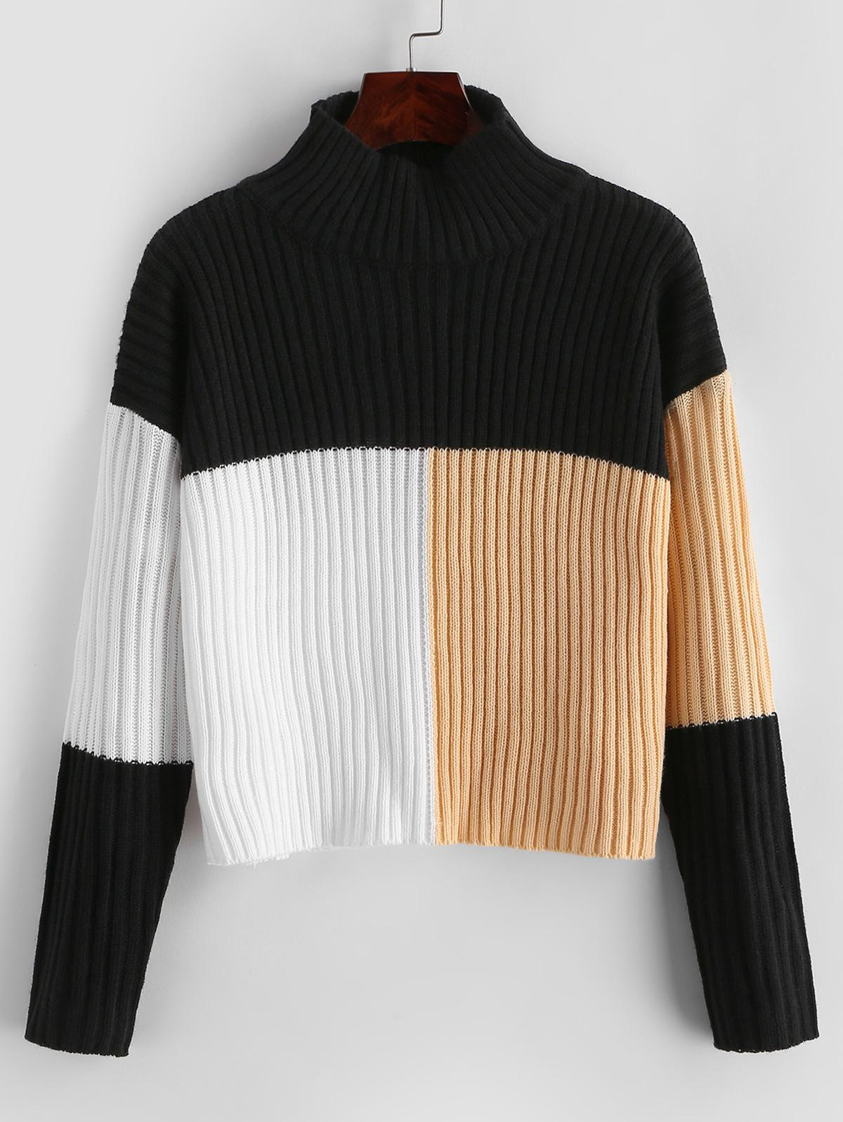 Colorblock Mock Neck Crop Sweater