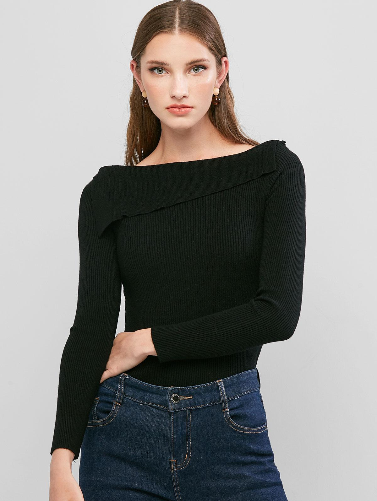 Square Neck Ribbed Solid Knitwear