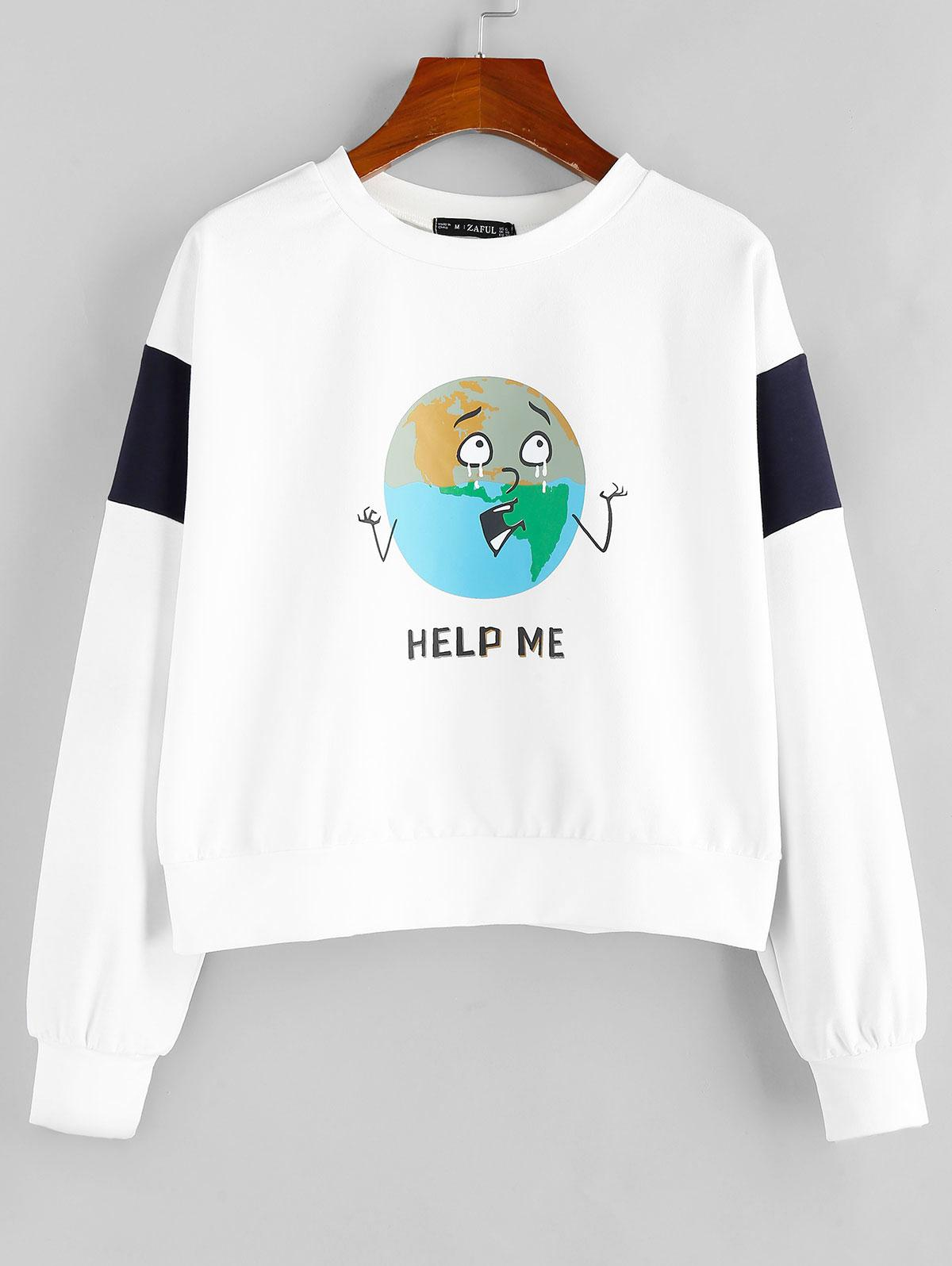 ZAFUL HELP ME Graphic Sweatshirt фото