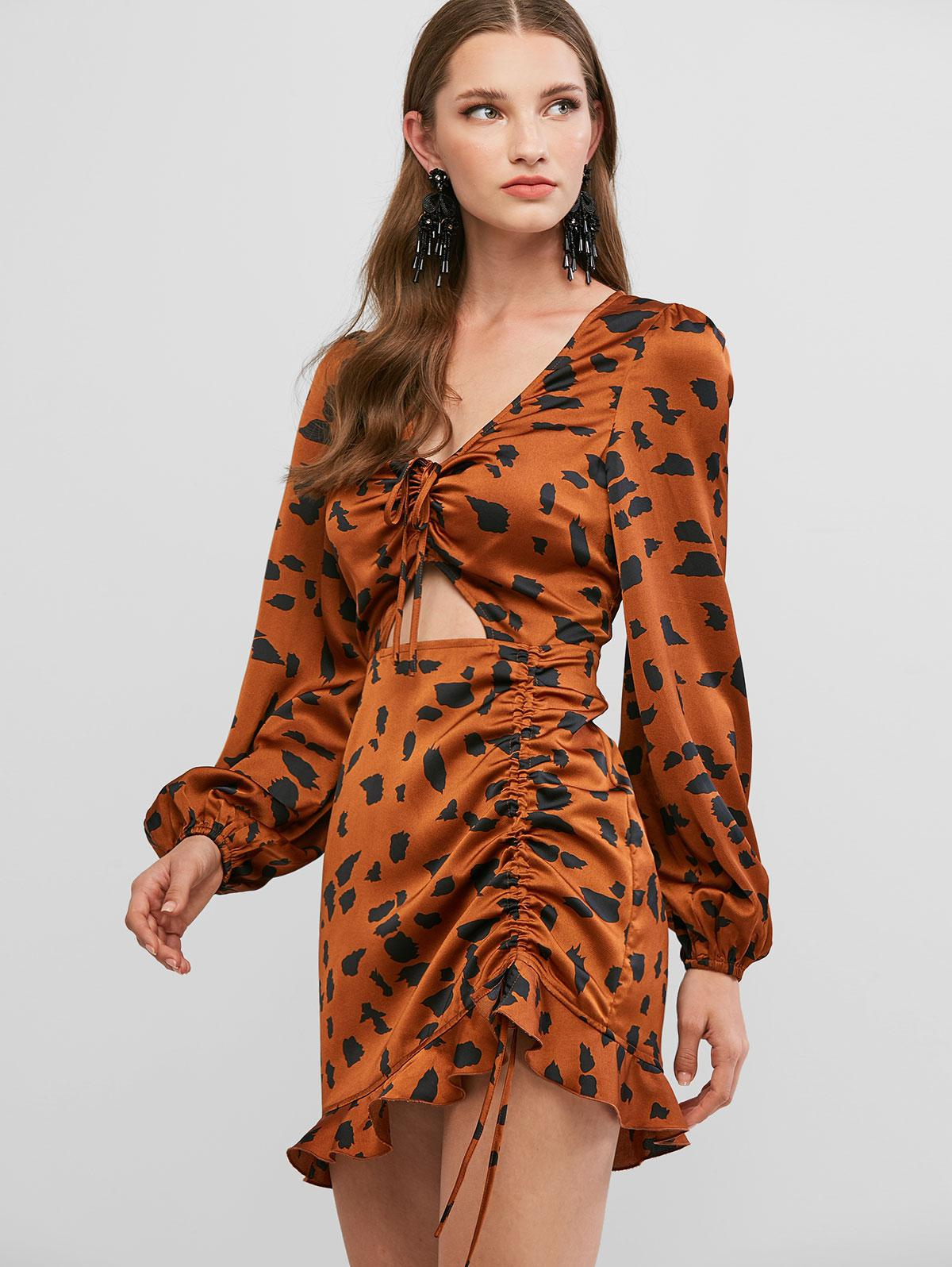 ZAFUL Ruffled Hem Printed Cinched Cut Out Mini Dress фото