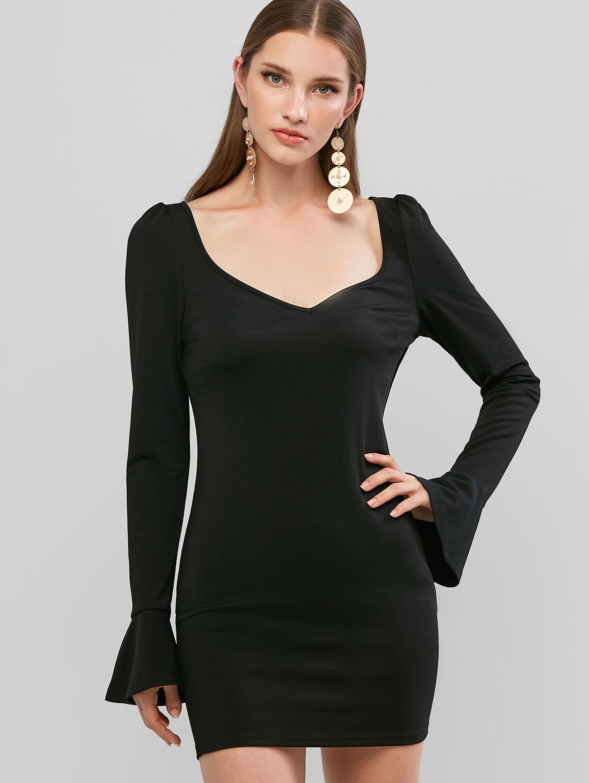 ZAFUL Plunging Poet Sleeve Bodycon Mini Dress