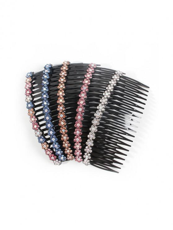 chic 5Pcs Flower Rhinestone Hair Comb Set - MULTI-A