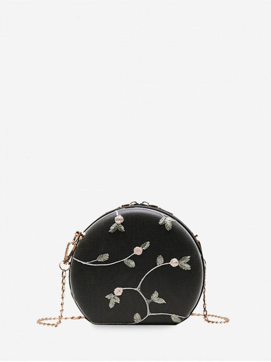 new Embroidered Round Lace Shoulder Bag - BLACK