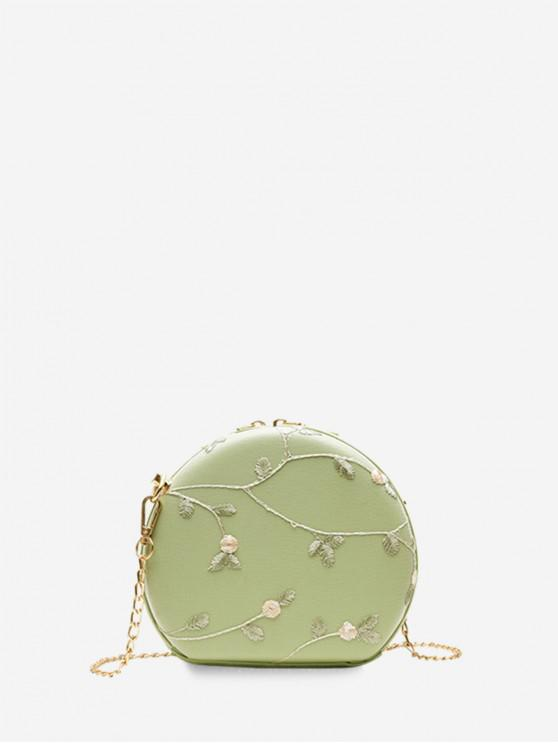 shop Embroidered Round Lace Shoulder Bag - GREEN PEAS