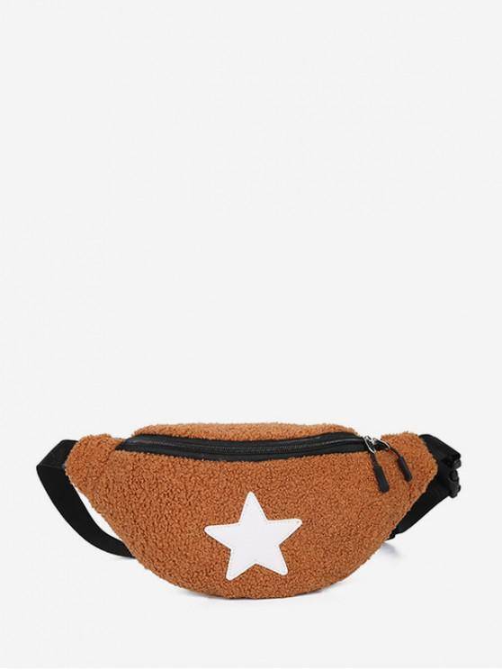 shops Suede Star Pattern Pocket Waist Bag - LIGHT BROWN
